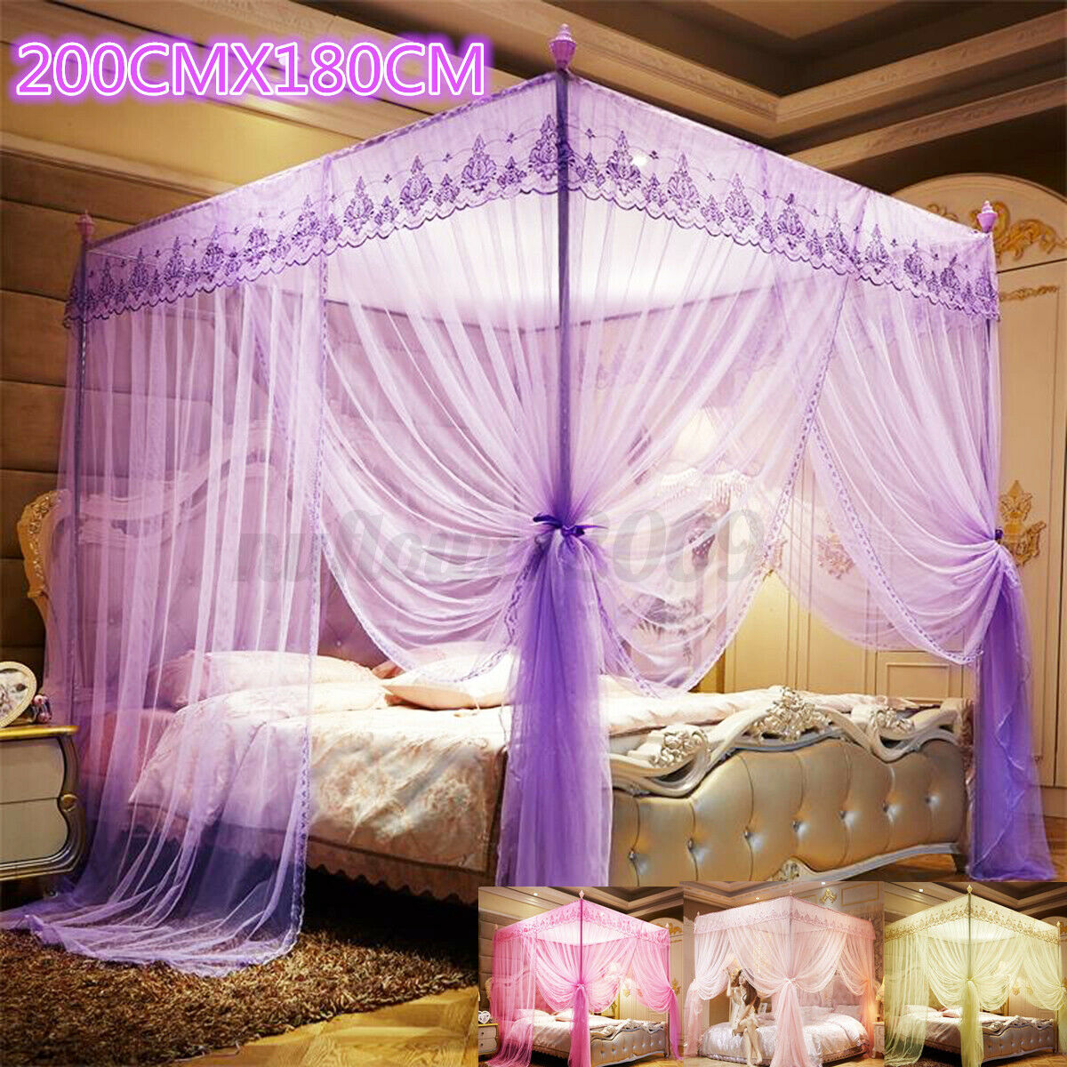 Mengersi 4 Corners Post Bed Canopy Bed Curtains Bed Frame Canopies Net Full For Sale Online Ebay