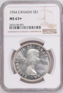 1954-S1-DOLLAR-ELIZABETH-II-CANADA-KM-54-LOW-POP-NGC-MS-63-HIGHEST-GRADES