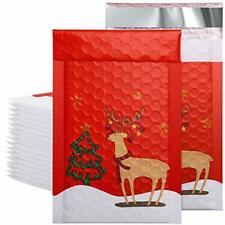 50 Pcs Poly Bubble Mailers Christmas Reindeer 4x8 Padded Envelopes Red And Deer