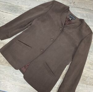August-Silk-Women-s-Blazer-Jacket-Brown-Pockets-Long-Sleeve-Size-12-42