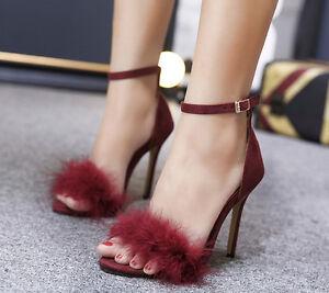 De Cm Mujer Aguja Como Elegantes Alto Cabello Sandalias 11 Rojo Con Tacón Pon 1dTnwqg