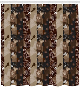 Image Is Loading Brown Shower Curtain Coffee Typo Hearts Beans Print