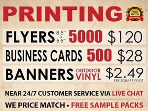 PRINTING SERVICES - LOW COST - Business Cards, Flyers, Brochures, Banners, Lawn Signs! FREE Shipping + FREE Sample Packs Canada Preview