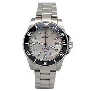 Aquacy-1769-Men-039-s-Automatic-300M-White-Mother-of-Pearl-Dive-Watch-Miyota-9015