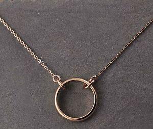 9325a8b3953e58 18k 18ct Rose Gold GF Karma Circle Necklace 18k 18ct gf   eBay