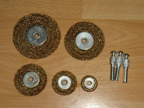 axe 6mm 5 Brosses métalique rondes laiton TOP-TOOLS.
