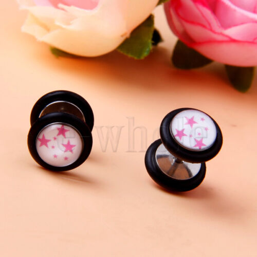 1 Pair White with Pink Little Star Earrings Barbell Fake Cheater Ear Plug 8mm HM