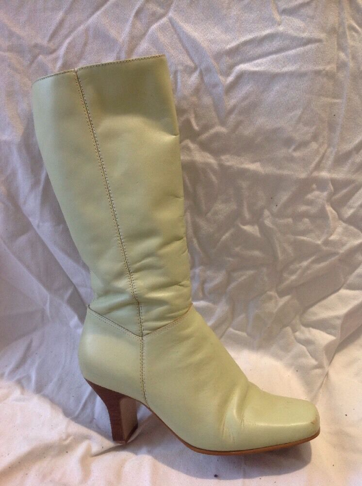 Faith Green Mid Calf Leather Boots Size 38