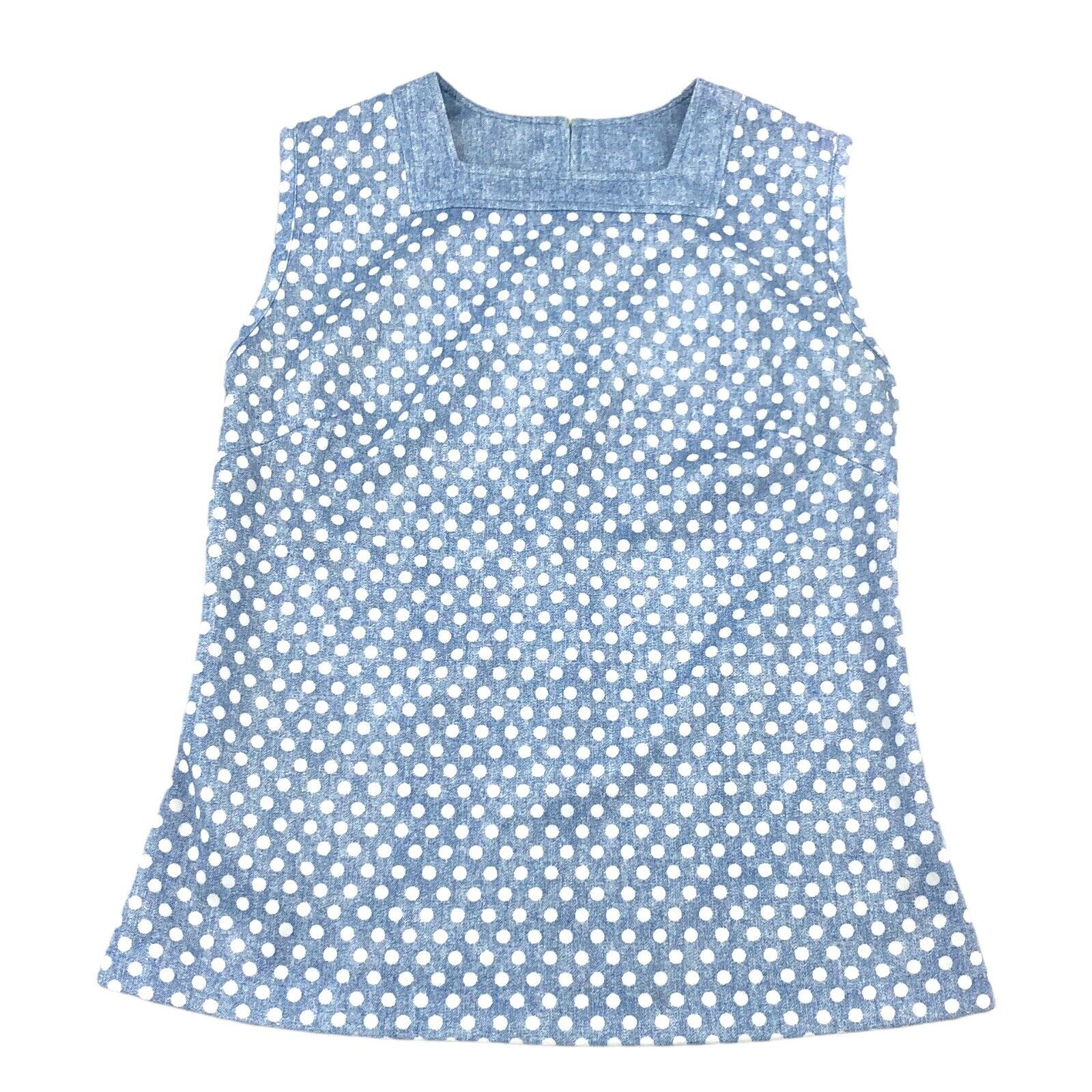 Vintage 70s Sleeveless Polka Dot Top Square Neck Blue White Womens Size 14 / M