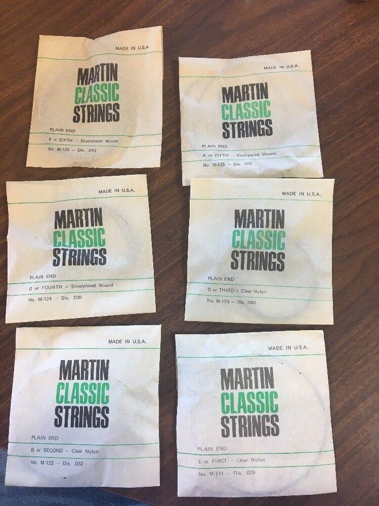 6 C. F. Martin Classic Strings E B D G A SIlverplated Nylon Wound Ball End C58