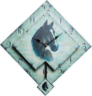 Orologio A Pendolo Cavallo Orologio A Muro In Legno Ebay