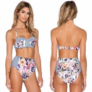 Women-Floral-Retro-High-Waist-Push-Up-Padded-Bra-Bikini-Set-Swimwear-Swimsuit