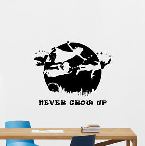 Peter Pan Never Grow Up Quote Wall Decal Disney Vinyl Sticker Decor