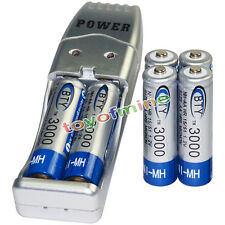 6x AA battery batteries Bulk Rechargeable NI-MH 3000mAh 1.2V BTY + USB Charger