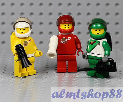 LEGO 3x Classic Space Astronaut Blue Green Yellow Minifigure Airtanks 70s 80s