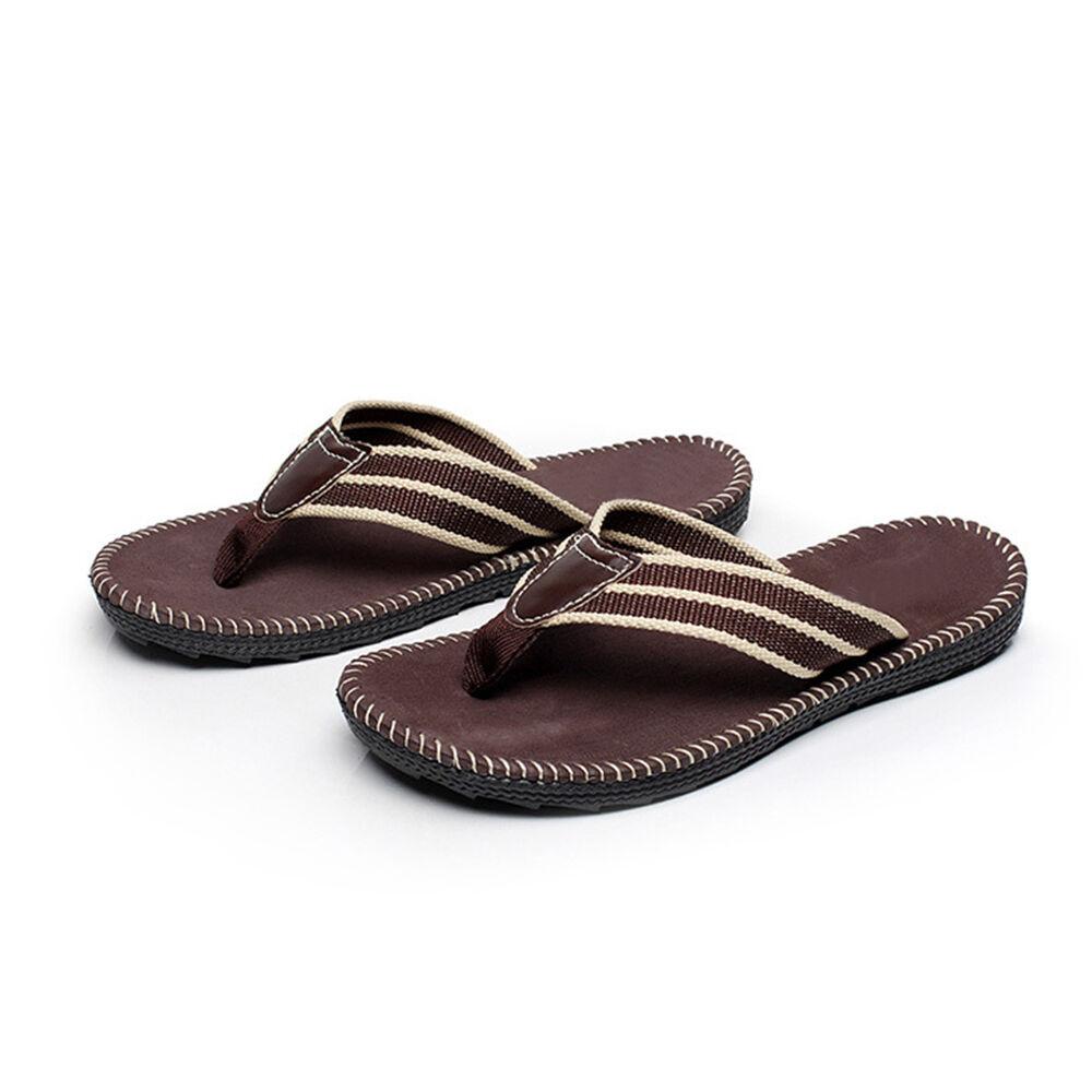 f35b56cd0a84 Coffee Anti-slip Men s Men s Men s Flat Flip Flops Sandals Summer Beach  Casual Slippers 7c4c19