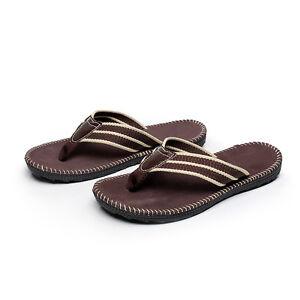 Coffee-Anti-slip-Men-039-s-Flat-Flip-Flops-Sandals-Summer-Beach-Casual-Slippers