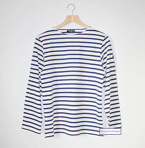 100/% Cotton Cream /& navy Guildo Striped Breton Shirt by Saint James