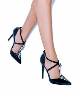 New-Black-silver-snake-pointy-toe-pumps-Heels-Size-8