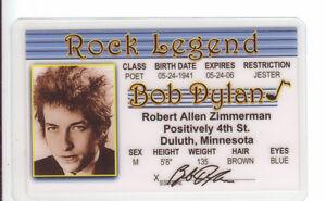 Bob-Dylan-ROCK-LEGEND-novelty-collectors-id-card-Drivers-License-Starr