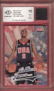 LEBRON-JAMES-WORN-OLYMPIC-JERSEY-amp-FLEER-USA-ROOKIE-card-GRADED-Beckett-BCCG-10