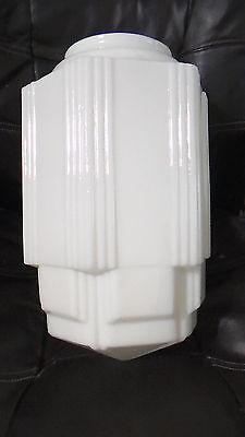 "16 1/2"" Tall White Opal Glass Art Deco SkyScraper Pendant Light Lamp Shade USA"