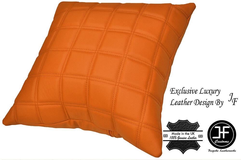 Exclusif 1X luxe en cuir coussin rembourré orange matelassé carrés rembourré coussin 18