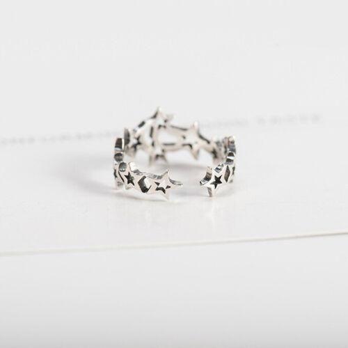 Anillo de mujer estrellas real Sterling plata 925 ajustable Antik óptica abierta