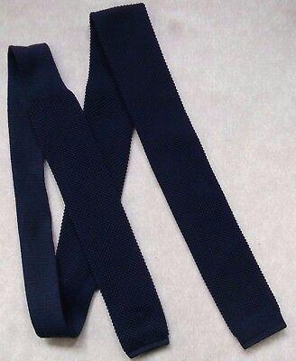 Aspirante Vintage Cravatta Da Uomo Cravatta Piatto Fine Lavorato A Maglia Blu Scuro 1970s-mostra Il Titolo Originale