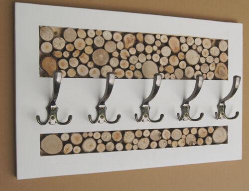 Garderobenleiste Landhausstill Vintage 5 Kleiderhaken Holz Scheiben Loft