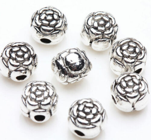 Hot 100Pcs Tibetan Silver Charms Spacer Big Hole Beads Jewelry Findings Making