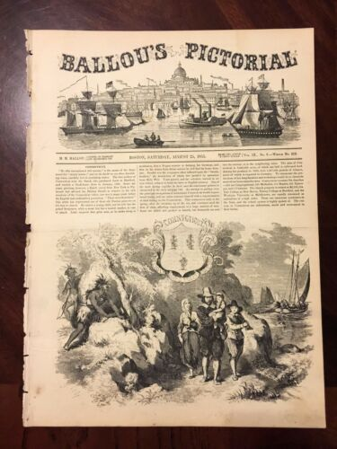 1855 Connecticut Seal and Scenes Pilgrims, Pequot Ballou's Antique Engrav 82415a