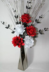Artificial silk flower arrangement red black white flowers in silver image is loading artificial silk flower arrangement red black white flowers mightylinksfo