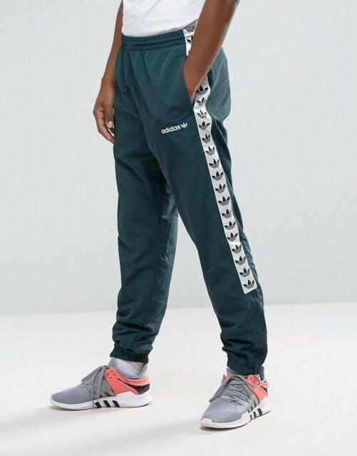 LG adidas Originals Men's Lined TNT TREFOIL TAPE WIND PANTS green BS4650 LAST1