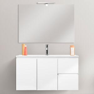 Mobile bagno bianco lucido cm 80 stondato sospeso con chiusure softclose design  eBay