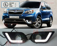 2x White LED Daytime Day Fog DRL Light Run lamp For Subaru Forester 2013-2014