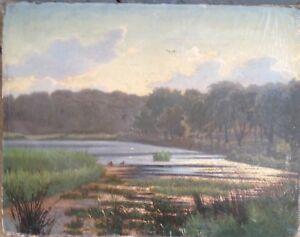 Romantics-um-1870-Evening-Sun-at-River-Oil-Painting-Antique-Biedermeier