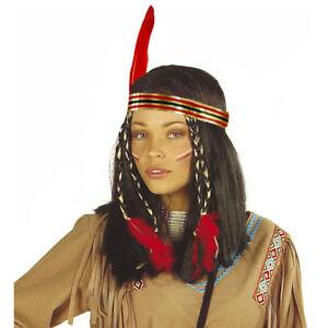 Indianerin Perucke Feder Haarband Karneval Indianer Frau Kostum