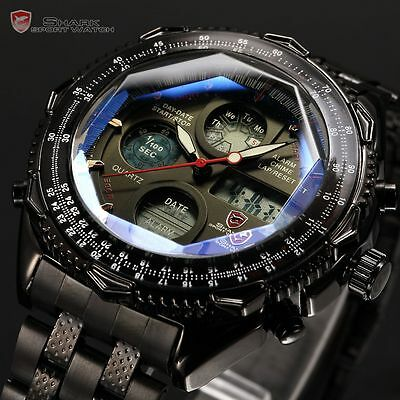 Shark Mens Military Sport Digital LCD Stainless Steel Date Day Watch