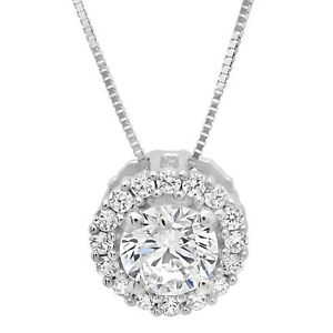 1-5ct-Round-Cut-Solitaire-Halo-Pendant-Necklace-Solid-14k-White-Gold-16-034-Chain