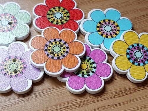 10 Forma di Fiore in Legno Pulsanti Da Cucire//Abbellimenti 25mm-Craft-ALBUM
