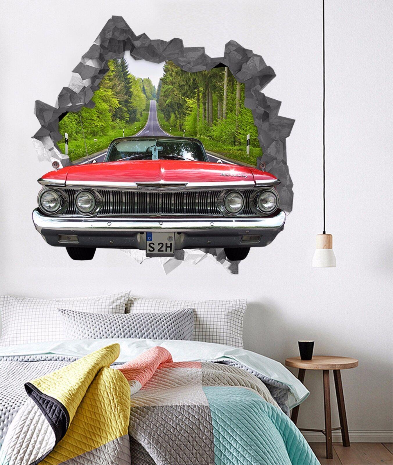 3D Rotes Auto 778 Mauer Murals Mauer Aufklebe Decal Durchbruch AJ WALLPAPER DE