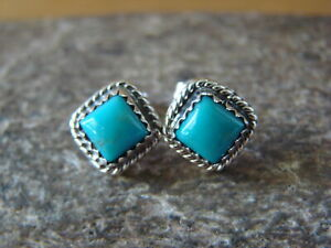 Native-American-Sterling-Silver-Square-Turquoise-Post-Earrings-H-Largo