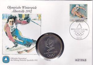 Numisbrief-Deutschland-Olympia-Albertville-1992-170-Pfg-Briefmarke-Stempel-Bonn