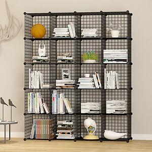 Unicoo-20 Cube Wire Grid Organizer, Bookcase, Storage Cabinet, Wardrobe Closet