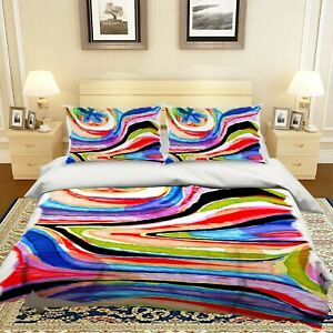 3D-Colorful-Watercolor-Texture-KEP144-Bed-Pillowcases-Quilt-Duvet-Cover-Kay
