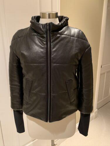 Women's leather puffer jacket