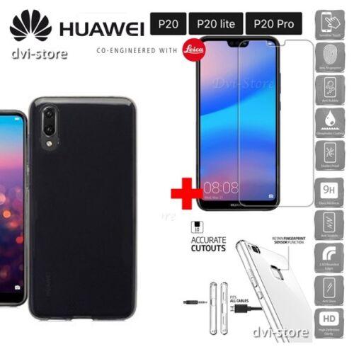 COVER per Huawei P20 / Lite / Pro Custodia Tpu NERA + Pellicola VETRO TEMPERATO