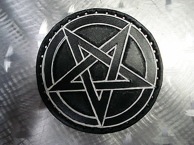 LEATHER PENTAGRAM CARVED PATCH.(black metal).ANTON LAVEY