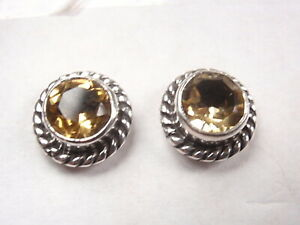 Faceted-Citrine-with-Rope-Style-Accents-925-Sterling-Silver-Stud-Earrings
